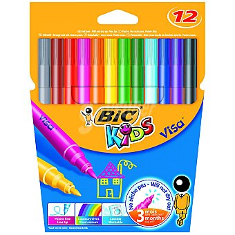 BIC Kids Visa estuche con 12 rotuladores de colores con punta fina