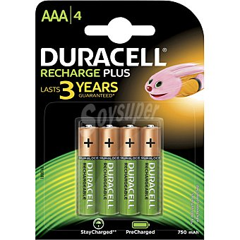 Duracell Recharge Plus pila alcalina AAA rx-03  blister 4 unidades