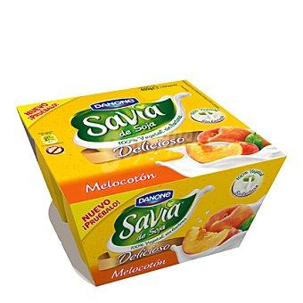 Savia Danone Yogur melocotón de soja y sin lactosa Danone pack 4x100 g