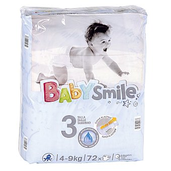 Baby Smile DIA pañales 4- 9 kgs talla 3 paquete 72 uds