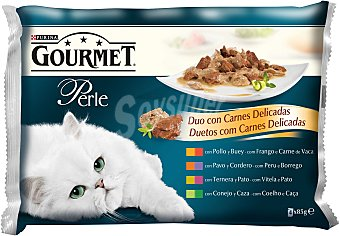 Gourmet Comida húmeda para gatos adultos Gourmet Perle Finas Láminas Dúo con carnes delicadas en salsa 4 x 85 gr 4 x 85 gr