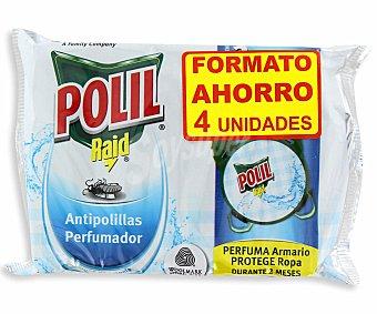 Polil Raid Antipolillas perfumado olor a colonia Paquete 4 unidades