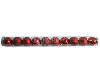 Actuel Tubo con 10 bolas de 6 centímetros de plástico de color rojo, con acabados metalizados y brillantes actuel 10u