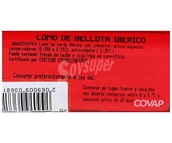 Covap Lomo ibérico puro de bellota al vacío 600 Gramos
