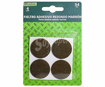 RAIA Fieltro Adhesivo Redondo Marrón de Diámetro 34 Milímetros y Grosor de 3 Milímetros 1 Unidad