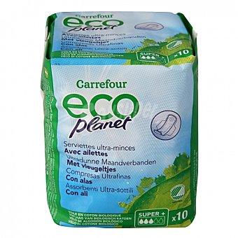 Carrefour Eco Planet Compresas ultrafinas super con alas ecológicas 10 ud 10 ud
