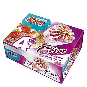 Kalise Pivot cono de helado de nata y fresa 4 unidades Estuche 280 g