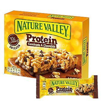 Nature Valley Barritas de proteínas sabor cacahuete y chocolate sin gluten Pack de 4 barritas de 40 g