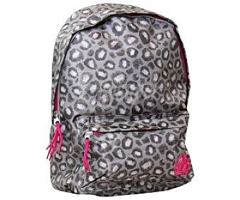 VANS Mochila Backpack Chica con Asas Reforzadas, Bolsillo Frontal con Creamallera y Estampado de Leopardo 1 Unidad