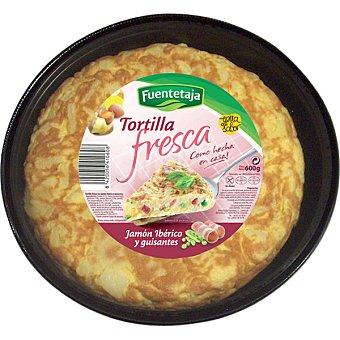 Fuentetaja Tortilla fresca con jamón ibérico y guisantes Envase 300 g