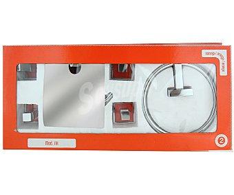 SIX Conjunto de baño de acero inoxidable compuesto por 5 piezas; 2 talleros, 1 porta rollos y 2 ganchos 1 Unidad