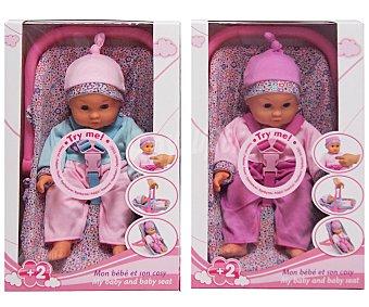 Rik&Rok Auchan Muñeco Bebe de 35 Centímetros de Color Rosa o Azul 1 Unidad