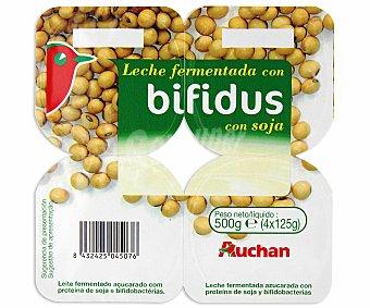 Auchan Yogur con bífidus de soja natural Pack 4 unidades de 125 gramos