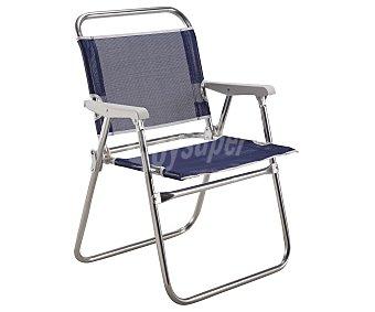 EREDU Silla marinera plegable para camping y playa. Fabricada en tubo redondo de aluminio y con asiento y respaldo de textileno 1 unidad