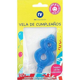NV. Vela de cumpleaños azul nº8 blister 1 unidad
