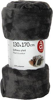 Actuel Manta de franela color gris antracita para sofá, 100% algodón, densidad de 220g/m², 130x170 centímetros 1 unidad