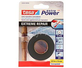 Tesa Cinta reparadora autosoldante, válida tanto para uso interior como exterior, con protección Uv, resistente hasta 8000V y de color negro, modelo Extreme repair 2.5 metros x 19 milímetros 1 Unidad