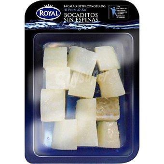 Pescados Royal bacalao en bocaditos sin espinas al punto de sal bandeja 250 g neto escurrido bandeja 250 g neto escurrido