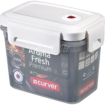 CURVER Aroma Fresh Premium Hermético rectangular transparente tapa blanca 1 l 1 l