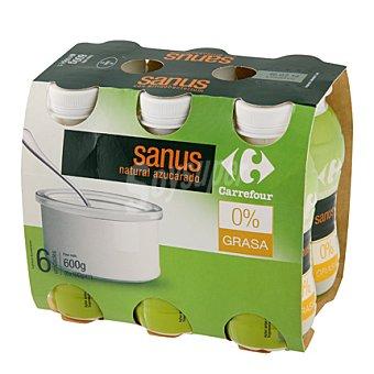 Carrefour Yogur líquido Sanus natural + fibra 0% Pack de 6x100 g