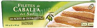 Hacendado Caballa sur filete aceite oliva Pack de 2x90 gr