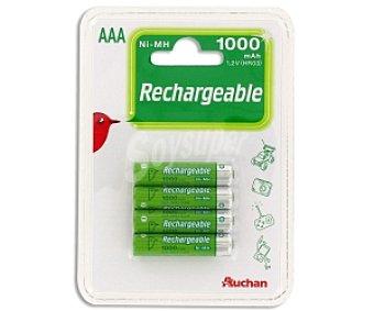 Auchan Pilas recargables 4 AAA ni-mh 1000 mah 4 unidades