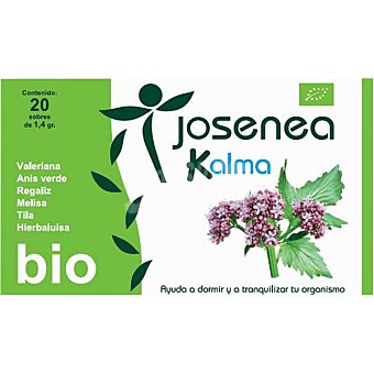 JOSENEA KALMA Infusión ayuda a dormir y a tranquilar el organismo Bio 20 sobres  caja de 28 g