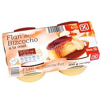 DIA Flan con bizcocho a la miel pack 4 unidades 100 g