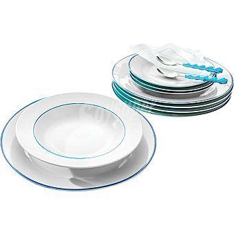 SANTA CLARA Toralla Vajilla de porcelana 19 piezas decorada en color blanco con filo azul para 6 servicios