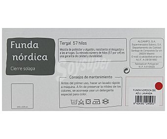 AUCHAN Funda bicolor para edredón nórdico de 90 centímetros, color azul 1 Unidad