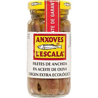 Anxoves de L´Escala Filetes de anchoas en aceite de oliva virgen extra ecológico Frasco 55 g neto escurrido