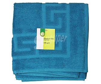 Productos Económicos Alcampo Alfombra de rizo para baño 100% algodón, densidad de 650 gramos/m², color turquesa, 50x70 centímetros 1 Unidad