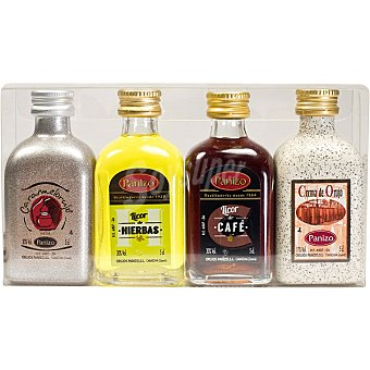 Panizo Licores surtidos Estuche 4 variedades Botellas 5 cl