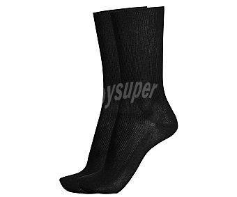 IN EXTENSO Pack de 2 pares de calcetines clásicos canalé, color negro, talla 39/42 Pack de 2