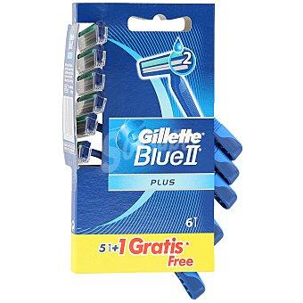 Gillette Blue II maquinilla de afeitar desechable 2 hojas bolsa 5+1 gratis