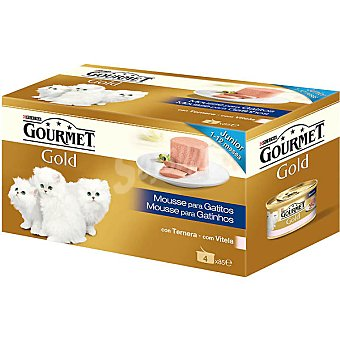Gourmet Purina Alimento para gatitos mousse con ternera Gold Pack 4 lata 85 g