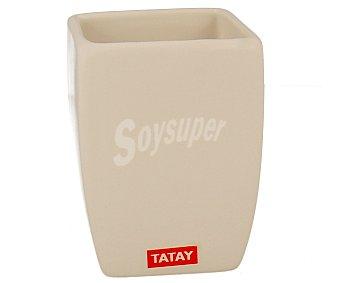 Tatay Vaso porta cepillos serie thai, de porcelana blanca 1 unidad