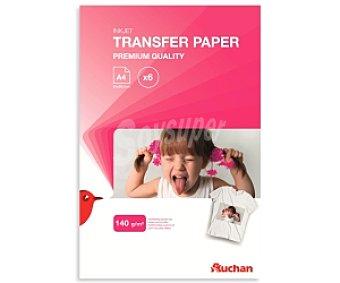 Auchan Papel Transfer para imprimir imágenes y fotos digitales sobre telas de color claro, A4 (21X29,7cm)