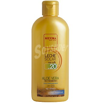 NIEVINA Leche solar aloe vera FP-20 antienvejecimiento con vitaminas A y E resistente al agua Frasco 200 ml