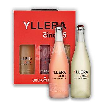 Yllera 5.5 Estuche de 2 vinos blancos Frizzante + 1 vino rosé Frizzante Pack 3x75 cl