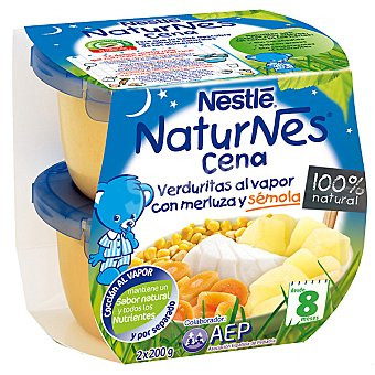 Naturnes Nestlé Tarrito de verduritas al vapor con merluza y sémola Cena Pack 2 envase 200 g