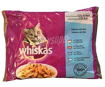 WHISKAS Surtido de comida para gatos (gelatina con atún, gambas, bacalao y salmón) Pack de 4 unidades de 100 gramos
