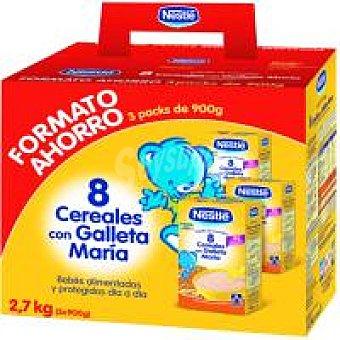 Nestlé Papilla 8 cereales con galleta Pack 3x900 g