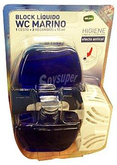 Relevi Block liquido wc completo + un recambio aroma marino Pack 2 x 55 cc - 110 cc + UN soporte