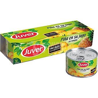 Juver Piña en su jugo en rodajas pack 3 latas 140 g neto escurrido Pack 3 latas 140 g