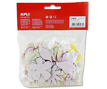 APLI Bolsa de 48 flores adhesivas de goma eva con brillantina y de diferentes colores y tamaños 1 unidad