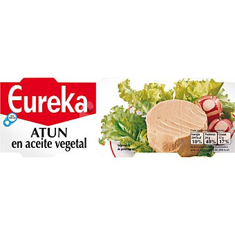 Eureka Atún en aceite vegetal neto escurrido Pack 3 latas 80 g