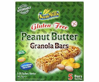 Sam Mills Barritas cereales con cacahuetes Sin Gluten 141 Gramos