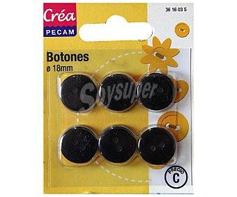 STYLE Pack de 6 botones abombados de 18 milímetros, color negro 1 Unidad