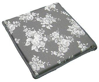 AUCHAN Cojín cuadrado estampado para taburete, modelo Panama, color gris 30x30 centímetros 1 Unidad